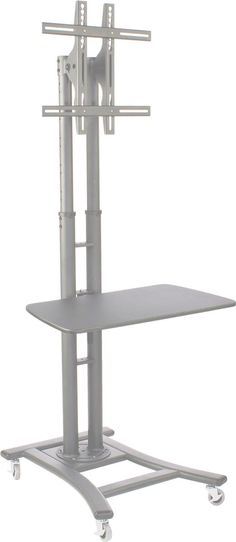 LCD TV Stands   Black Monitor Mount with Shelf for Commercial Use