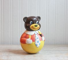 Bear Roly Poly Roly Poly Bear Chime Bear Vintage Toy Vintage Bear Baby Toy First Years Bear Bell Musical Bear (14.00 USD) by MollyFinds
