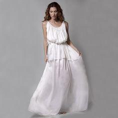 Silk chiffon and satin ancient Greek dress - Brandfashion Boutique - 1