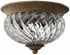 Hinkley Lighting 4102PZ Plantation 2 Light Pineapple Flushmount Ceiling Fixture, Pearl Bronze Hinkley Lighting