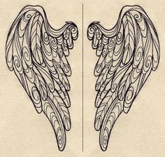 """""""Doodle Wings (Wing Pair)""""  Stitch these light and lovely doodle wings on the back of a shirt or jacket. Size listed is for one wing.  -  UTZ1492 (Machine Embroidery)  00445694-042713-0831-3"""