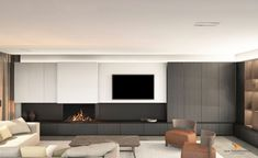 Wall Units With Fireplace, Living Room With Fireplace, Tv Wall Design, House Design, Tv Wall Cabinets, Modern Tv Wall, Tv Wall Decor, Living Room Tv, Modern Interior Design