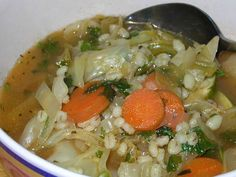 Look for barley in the grocery aisle by rice.  It is very economical and tasty, and youll be amazed how filling this soup is.  Sprinkle with a little Parmesan and you can be in Weight Watcher heaven.