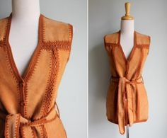 Vintage 1970s Rust Orange Leather and Rib by GirlLeastLikely, $62.00