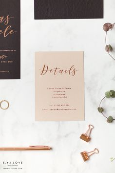 On nude metallic board, our foiled details cards are created for those who wish to keep their wedding invitations minimal but add all of the info for their guests. Luxury Wedding Invitations, Wedding Stationery, Bad Dancing, Order Of Service, Rose Gold Foil, Adele, Wedding Details, Rsvp, Place Cards