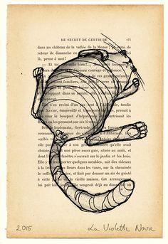 Impression d'une de mes créations originales sur une page de vieux livre français à l'effet vintage.  L'association de mon illustration et de ce papier