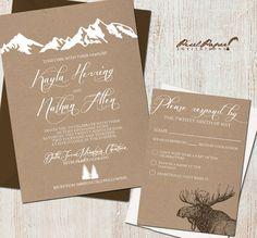Wedding Invitation Suite: (Mountains, Colorado, Kraft paper, Rustic, Outdoor) Mountain Retreat DIGITAL