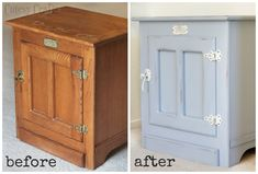 White Clad end table make over before and after Chalky Finish paint. @Michaels Stores