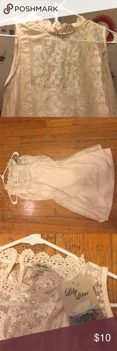 Target Lily star cream Lace dress Mid-length dress. Straight cut, high neck line with buttons. Perfect for shorter girls. Little short if you're taller, but would look cute with tights or leggings. Never worn. Target  Dresses Midi