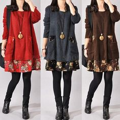 S-4XL Women Long Sleeve Tunic Kaftan Floral Loose Casual Mini Dress Cardigan