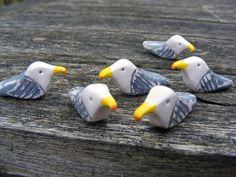 Seagulls! Polymer Clay, Renaissance Wax, Sanded and Buffed.
