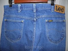 Vintage-Lee-Riders-Denim-Blue-Jeans-Scovill-Zipper-Union-USA-Made-35x29-actual