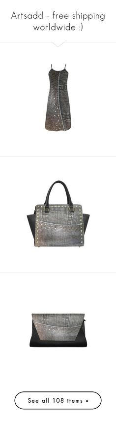 """""""Artsadd - free shipping worldwide :)"""" by cglightningart ❤ liked on Polyvore featuring dresses, grey, gray dress, grey slip dress, slip dresses, grey dresses, bags, handbags, shoulder bags and shoulder hand bags"""