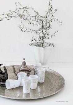 Orientalisches Trinkglas Set weiß-silber - HOUSE of IDEAS Orientalische Dekorationsartikel und Bunzlauer Keramik