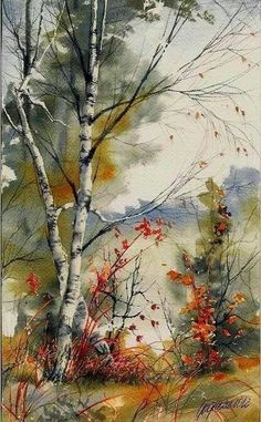 Forest Watercolor Painting By Beata Gugnacka Watercolor Landscape Paintings, Watercolor Trees, Watercolor Artists, Landscape Art, Watercolor Drawing, Tree Art, Art Pictures, Graffiti Pictures, Painting & Drawing