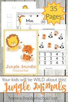 Do your preschoolers love animals? If so, they are going to love this fun 35-page jungle animals preschool learning pack! | @homeschlprek via @homeschlprek