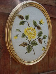 Vintage Oval Framed Needlepoint PIcture with Yellow Rose via Etsy.