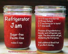 A jar of strawberry and rhubard homemade jam with the recipe on the jar.