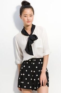 MARC BY MARC JACOBS 'Marina' Silk Blouse With Neck Tie