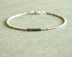 Blue Diamond Bracelet teal rough raw diamonds by bluegreenjewels