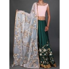 Peachy Pink and Bottle Green Embroidered Lehenga