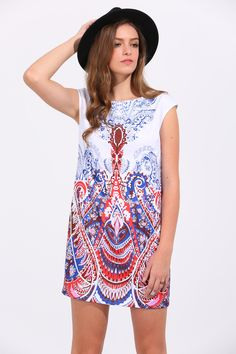 Online shopping for Multicolor Print Cap Sleeve Shift Dress from a great selection of women's fashion clothing & more at MakeMeChic.COM.