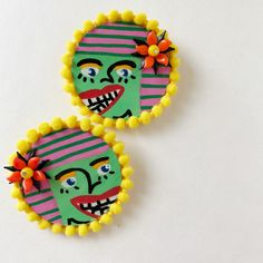 Double the Trouble Earrings - Hand Painted with Pompoms