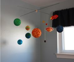 Another styrofoam ball solar system mobile.