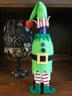 Elf Wine Bottle Outfit by MomandMeCraftsLLC on Etsy                                                                                                                                                                                 More