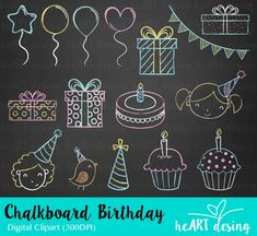 Chalkboard Birthday Clipart / Digital Clip Art for Commercial and Personal Use / INSTANT DOWNLOAD Chalkboard Clipart, Chalkboard Wall Art, Chalkboard Doodles, Chalkboard Calendar, Chalkboard Lettering, Chalkboard Designs, Happy Birthday Chalkboard, Happy Birthday Calligraphy, Happy Birthday Signs