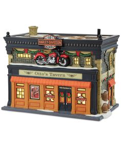 Department 56 Harley Davidson Otto's Tavern Collectible Figurine - Cyber Monday Specials - For The Home - Macy's Christmas Village Decorations, Halloween Village Display, Christmas Village Houses, Christmas Villages, Halloween Labels, Vintage Halloween, Halloween Crafts, Christmas In The City, Christmas Town