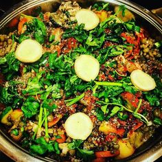 Do you even nom?! Well I nom... and #beastmode is the level of nom that I nom at  a #saturdaynight isn't quite right unless there is a #indianinspired lentil frenzy involved! Here we have a Indian spice saturated  curry made with sautéed apples onions carrots zucchini diced  tomatoes garlic jalapeños sliced mushrooms and spinach. Cooked lentils a concentrated Indian spice paste chili powder minced ginger freshly cracked citrus pepper and Mediterranean Sea salt. This curry was served with…