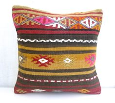 Hand embroidered Kilim pillow Cover Decorative by PillowTalkOnEtsy, $48.00
