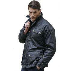 Men's Wax Jacket, Black