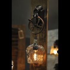 Crown Royal wall sconce.  I just love the cut glass facets.  It feels like a real piece of crystal.  Great addition to your old time bar.