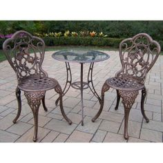 This three piece Bistro Set will be a beautiful addition to your patio, balcony or outdoor entertainment area. Bistro sets are perfect for any small space, or to accent a larger space.