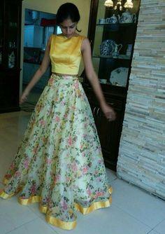 trendy skirt long design fashion fashion skirt is part of Dresses - Half Saree Lehenga, Lehnga Dress, Red Lehenga, Anarkali, Floral Lehenga, Yellow Lehenga, Long Gown Dress, The Dress, Indian Attire