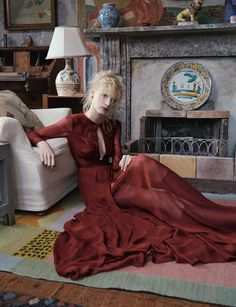 Julia Nobis by Ben Toms for AnOther Fall 2013 in beautiful red dress. More Great Looks Like This