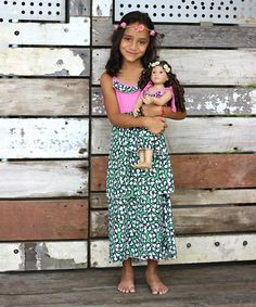 This Bright Green & Pink Flowery Diva Maxi Dress & Doll Dress - Girls is perfect! #zulilyfinds