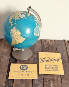 Wedding invitation  Vintage Map Invitation   Kyla: I like this a lot!