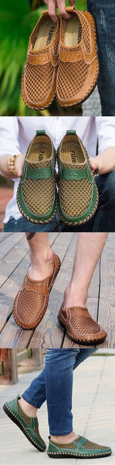 Men Stitching Honeycomb Mesh Soft Loafers Breathable Outdoor Casual Shoes #Men'sCrocsShoes