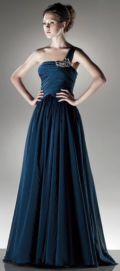 One shoulder A-line chiffon dress