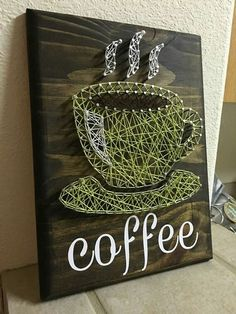 String art signs are a rising trend for the home. Check out these string art… String art signs are a rising trend for the home. Check out these string art signs that will add charm and a pop of color to your home. String Art Diy, String Crafts, String Art Templates, String Art Patterns, Doily Patterns, Dress Patterns, Deco Cafe, Crafts To Make, Arts And Crafts
