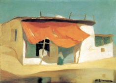 Economou Michael - Red Awning, ca 1927 - 1928 Oil on pasteboard, 45 x 56 cm Name Paintings, Greek Paintings, Vintage Maps, Antique Maps, National Gallery, Greek Art, Fashion Painting, Painting & Drawing, Painting Styles