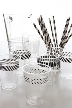 Black and white washi tape on party cups. I have so much washi tape we could do this for any party with any color of washi tape. Festa Monster High, Black White Parties, Black And White Party Decorations, Black And White Theme, Do It Yourself Inspiration, Festa Party, Party Party, Party Drinks, Throw A Party