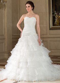 Wedding Dresses - $236.99 - A-Line/Princess Sweetheart Chapel Train Tulle Wedding Dress With Ruffle Lace Beadwork Sequins (002012839) http://jjshouse.com/A-Line-Princess-Sweetheart-Chapel-Train-Tulle-Wedding-Dress-With-Ruffle-Lace-Beadwork-Sequins-002012839-g12839?ver=1