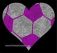 Heart Soccer Ball Rhinestone Tee