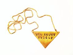 Stamped Metal Triangle Pendant Necklace Phish by GypsiesEnRegalia