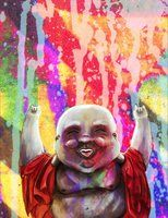 A painting of the Chinese good luck Buddha rocking out :P
