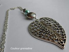 Sautoir feuille et perles vertes et argentée : Collier par couleur-grenadine33
